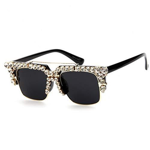 Yuanz Übergroße Frauen Sonnenbrille Cat Eye Brille Half Frame Strass Sonnenbrille Männer Vintage Shades Uv400,EIN