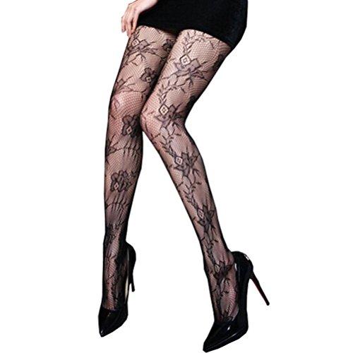 Xmansky Mode Frauen Blumen Druck Fischnetz Strumpfhosen (Haus Kostüm Alice)