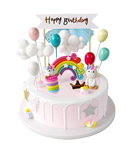 iZoeL Unicorn Cake Topper Kit Cloud Rainbow Balloon Happy Birthday Banner Cake Decoration For Boys Girls Kids Birthday