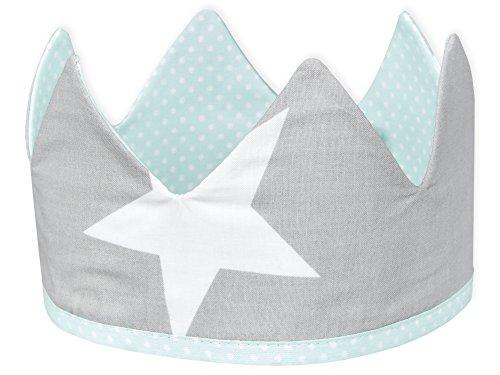 KraftKids Stoffkrone große weiße Sterne auf Grau, stylische Geburtstags-Krone für Kinder mit Klettverschluss, beidseitig mit Muster verziert -