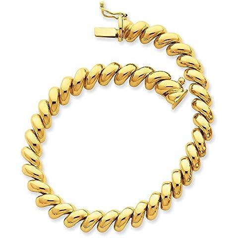 14K oro Lucidato San Marco Collana–Scatola Chiusura–41centimetri