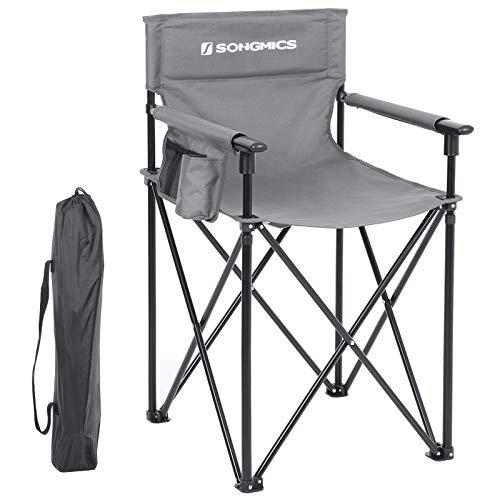 SONGMICS Campingstuhl, klappbarer Outdoor Stuhl, Regiestuhl mit hoher Sitzfläche, mit 3 Taschen, für Visagisten, Friseur, hoch belastbar, max. Belastbarkeit 150 kg (56,5 x 56,5 x 96 cm, Grau) -