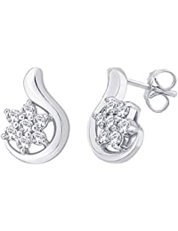 Peora Sterling Silver Rhodium Plated Rosina Earrings For Women And Girls