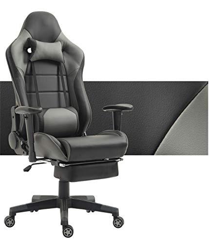 Tiigo sedia ufficio sedia gaming sedia da ufficio e da casa schienale alto ergonomico sedia del computer (nero/grigio,poggiapiedi)