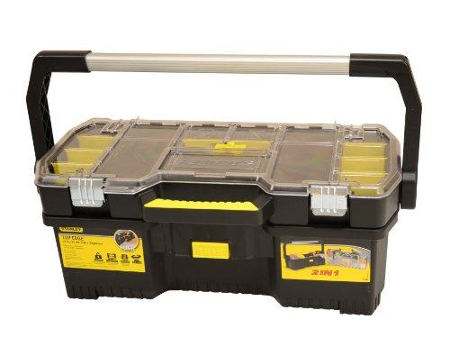 Stanley Werkzeugtrage 2-in-1 Set (67 x 32 x 25 cm, mit Organizeraufsatz, beide Einheiten getrennt verwendbar, robuste Metallschließen, stabiles Structural Foam Desgin) 1-97-514