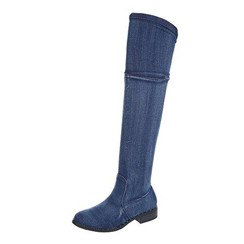 Ital-Design Overknees Damen-Schuhe Overknees Blockabsatz Blockabsatz Reißverschluss Stiefel Blau, Gr 37, Bh81-Hb-