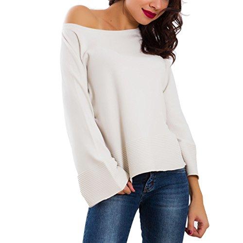 Toocool - Maglione donna pullover taglio morbido manica lunga campana nuovo SA600241 SA600241 Panna