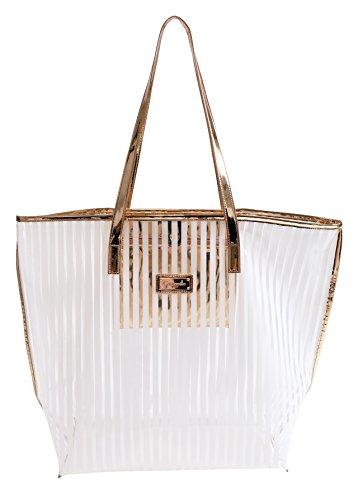 Camomille milano-shopper XL Crystal Stripe White