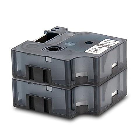 2er Set - Schriftband kompatibel zu DYMO D1-Band / 45803 | schwarz auf weiß / 19mm x 7m | geeignet für DYMO LabelPOINT & LabelManager LM300 / LM350 / LM400 / LM260P / LM350D / LM360D / LM420P / LM450 / LP350 / LP150 / LP250 / LP300 / LP350 / PC / PC2 / PnP / PnP WiFi / LW400 Duo / LW450 Duo