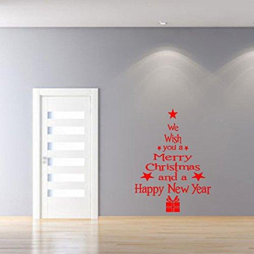 Dragon868 adesivo 3d muro in vinile rimovibile albero di natale decalcomanie per muro di natale decalcomania (rosso)