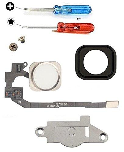 """MMOBIEL Bouton Home pour iPhone 5S (Blanc) avec Connecteur nappe """"flex"""", Cadre en métal, protège bouton et joint en caoutchouc préinstallés + Set complet Vis / Tournevis adaptés (x2)"""