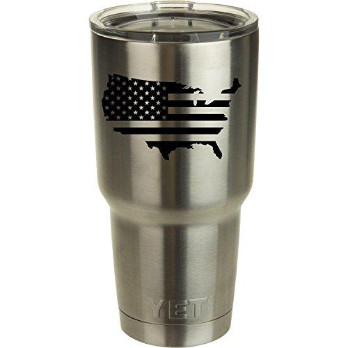 USA Flagge Aufkleber für Yeti Tumbler Aufkleber Ozark Trail Trinkglas Aufkleber schwarz oder weiß Aufkleber 9,4cm H x 10,2cm W