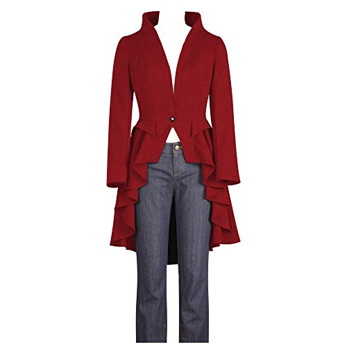Chic Star Collarless Gothic Red Jacket in Standard to Plus Sizes UK 24