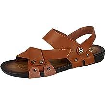 YOUJIA Hombres Verano Plano Slip On Zapatos Cuero PU Sandalias Flexible Zapatillas
