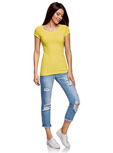 oodji Ultra Damen Tailliertes T-Shirt Basic (3er-Pack) Mehrfarbig (19LRN)