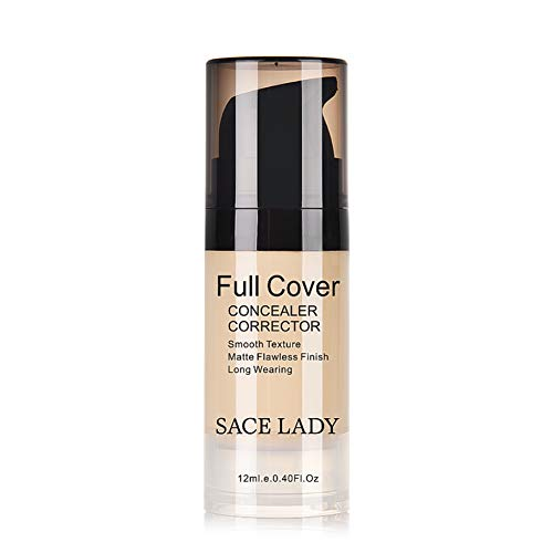 Rowentauk Full Coverage Foundation Concealer Brighten Face Makeup Base Nude Concealer, Cover Pimples Freckles Scars, Moisturizing, Waterproof, 12ml Full Cover