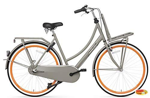 Plezier Damen Hollandrad 28 Zoll 3 Gang Grau-Orange 57 cm Rahmenhöhe