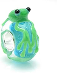 Cute Green Frog Murano Glass 3D Bead Fits European Brand Charms