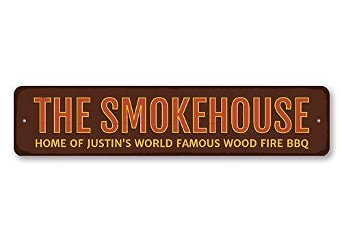 Personalizzato nome Smokehouse Home of World Famous legno fuoco barbecue Kitchen Sign-Qualità aluminum ENSA1001821qualità aluminum Sign, alluminio, 1) 4'x18' Inches