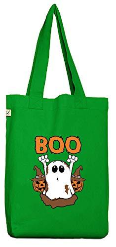 Partner Gruppen Ghost Bio Baumwoll Jutebeutel Stoffbeutel Halloween Boo, Größe: onesize,Kelly Green