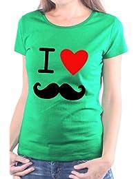 Mister Merchandise Femme Chemise T-Shirt I love moustache