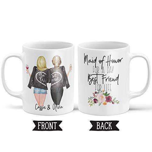 FloradeSweet Personifizierte Trauzeugin-Geschenk-Hochzeits-Becher Danke Geschenk Hochzeits-Geschenk Becher-personalisierte Keramik-Becher-Kaffeetasse