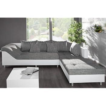 gro es ecksofa sultan weiss strukturstoff grau ot rechts. Black Bedroom Furniture Sets. Home Design Ideas