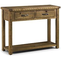 Julian Bowen Aspen madera aserrada sin cepillar mesa consola con 2cajones, pino, natural