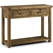 Julian Bowen Aspen Rough mesa consola con 2cajones, madera aserrada, pino Recuperado