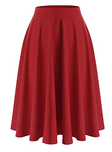 Wedtrend Women's Retro Style High Waist Vivien Swing Skirt WTC10023 Red XL