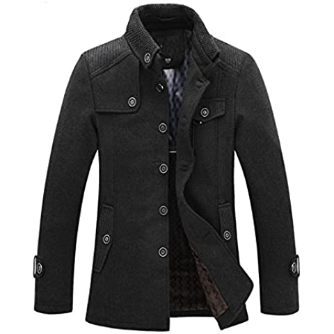 SODIAL (R) Caliente para hombre delgada invierno rompevientos abrigo largo de lana Gris - XL