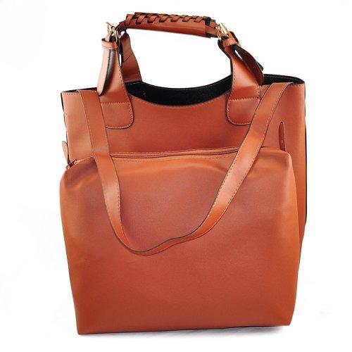 SODIAL(R) Womens Celebrity Style trenzado Bucket Shopper Shopping Totes Hobo Bolsa de hombro - Marron