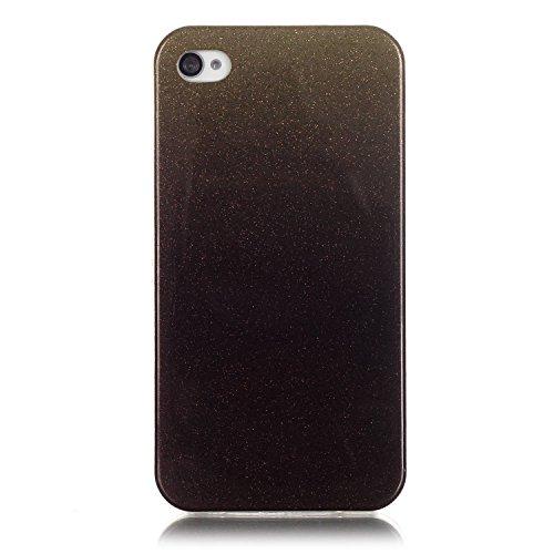 iPhone 4 Case,iPhone 4S Hülle - Felfy Apple iPhone 4/4S Ultra Slim Ultradünn Case Soft Gel Flexibel TPU Silikonhülle mit Bling Sternchen Gradient Farbe Design Protective Scratch Resistant Bumper Case  Braun Case