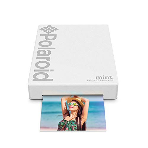 Polaroid Mint Pocket Printer W/ Zink Zero Ink Technology & Built-In Bluetooth for Android & iOS Devices - White