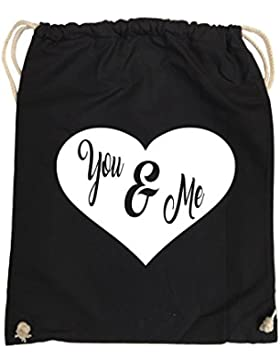 Comedy Bags - YOU & ME - HERZ NEGATIV – hipster Turnbeutel, bedruckter Gymbag aus 100 % Baumwolle mit robuster...