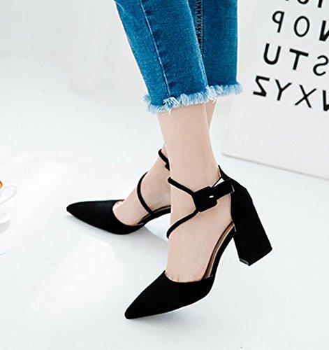 Damen Spitz Zehen Sandalen Knöchelriemchen Nubukleder Blockabsatz  Atmungsaktiv Schick Einfarbig Schuhe Schwarz
