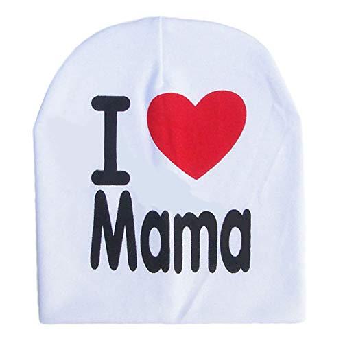 Libertroy Enfants Enfants Imprimé Tricoté J'aime Mama Bébé Chapeau Coton Unisexe Bébé Cap Lettre Enfants Chapeau pour 0-3 Ans - Blanc