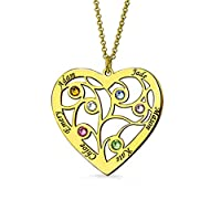 Zhaolian888 Name Necklaces Personalised Sterling Silver Heart Shape Pendant Family Tree Necklace for Mom