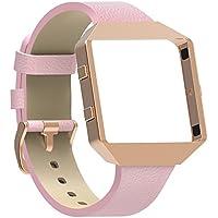 SnowCinda Leder Armband fur Fitbit Blaze, Premium Leder Armband mit Metallrahmen Ersatzband Uhrenarmband fur Fitbit Blaze Smartwatch Fitness Zubehor Damen Herren