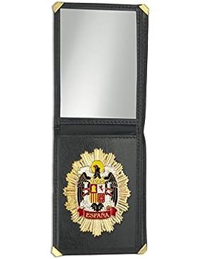 Outletdelocio. Cartera identificacion con placa Escudo Aguila de España. 3 Compartimentos y esquinas reforzadas