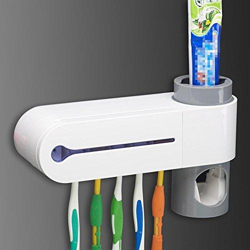 Miyare esterilizador de cepillo de dientes con pasta de dientes dispensador de desinfección luz Sanitizer cepillo de dientes UV Esterilizador de limpieza para colgar Home