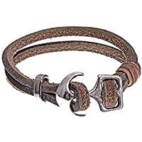 SKONIDA Design Leder Armband KENO für Damen und Herren maritim Anker - Verschluss mit hochwertiger schwarzer Geschenk – Verpackung HANDMADE IN GERMANY