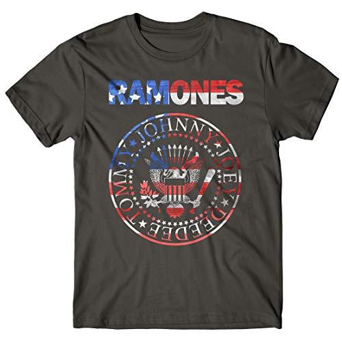 LaMAGLIERIA Camiseta Hombre Ramones - USA Flag - t-Shirt Punk...