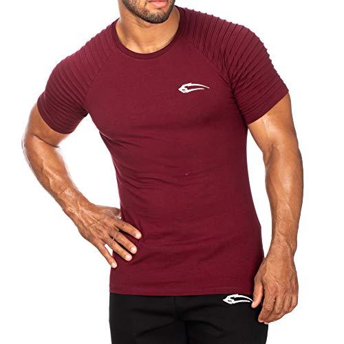 Herren T-Shirt Ripplez   Kurzarm   Casual Top   Funktionsshirt für Sport Fitness Gym & Training   Trainingsshirt - Laufshirt - Sportshirt mit Logo, Größe:S, Farbe:Bordeaux - Farbe Logo-t-shirt