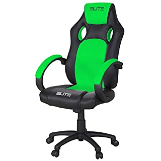 ELITE Racing Gaming Stuhl MG-100 - Bürostuhl - Kunstleder - Ergonomisch - Racer - Drehstuhl - Chair - Chefsessel - Schreibtischstuhl (Schwarz/Neongrün)