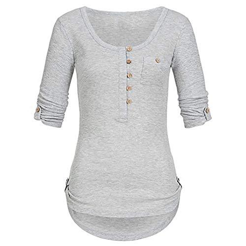 IMJONO Bluse Damen mit Flamingo Sommer Oberteile Hochwertig schöne und lässige Tunika Chiffon Bluse für Frauen Elegantes Langarm Hemd(EU-48/CN-5XL,Grau)