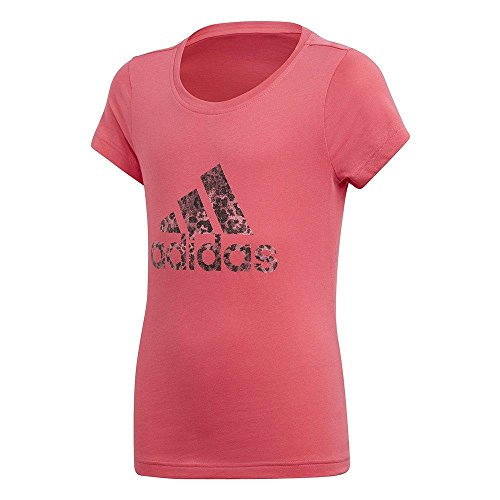 adidas Mädchen Essentials Performance Logo T-Shirt, Real Pink/Chalk Pink/Black, 128