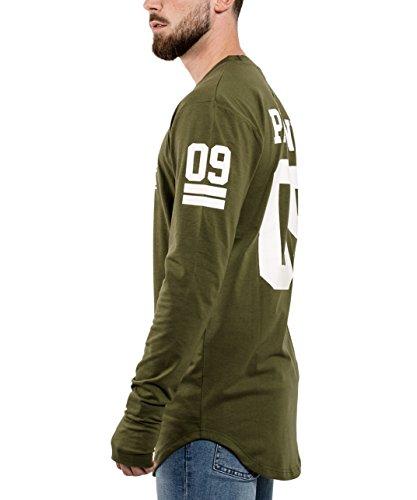 Phoenix Allstar Oversize T-Shirt Herren Longshirt mit 09 Print Longline Tee Langes Stylisches Shirt - S M L XL Olive - Langarm