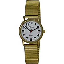 Ravel Easy Read Watch on Expandable Women's Quartz Watch with White Dial Analogue Display and Gold Stainless Steel Gold Plated Bracelet R0208012S