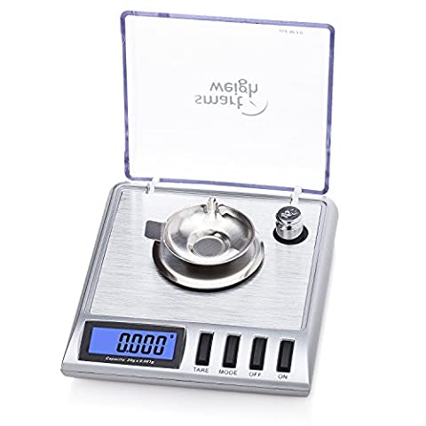 Smart Weigh High Precision Digital Milligram Jewelry Scale, 20 x 0.001g, with Tare Function, Calibration Weights and Tweezers Included.